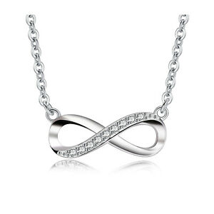 Women's Sterling Silver Infinity Cubic Zirconia Pendant Necklace