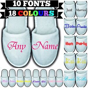 Personalised Closed Toe Spa Slippers - Any Name Message Gift Wedding Guest Funny