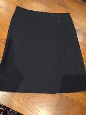 SUSSAN charcoal grey pinstripe wrap-look corporate skirt SIZE 12 AUS - AS NEW