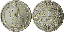 SUISSE  ,  2  FRANCS    ARGENT  1879 B   BERNE