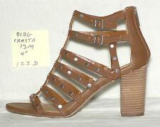 "size 13 m BCBG CHASTA brown strappy studded sandal, 4"" stacked heel - 123d"