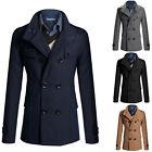 Men Wool Trench Coat Double Breasted Peacoat Long Jacket Winter Warm Outwear Top
