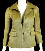 Louis Vuitton Paris. Gold Wool Blend Lurex Collared Clasp Front Jacket
