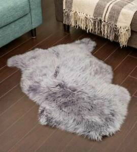 Genuine Real Sheepskin Rug Gery Sheepskin Single Pelt Wool Fur Rug 2 x 3 ft