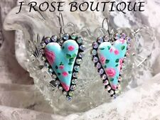 STERLING SILVER ROCKABILLY HEART SHABBY TURQUOISE PINK ROSE EARRINGS WESTERN NWT