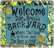 WELCOME BACKYARD PERSONALIZED SIGN COLD BEER BBQ FOOD TIKI POOL PATIO DECK BAR