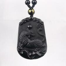 good luck charm pendant necklace natural Obsidian Hand carved Chinese tiger