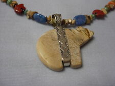 - 925 on Pendant Southwestern Agate Carved Bear Necklace