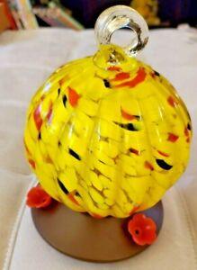 WILD BIRD Southern Patio Yellow Swirl Art Glass Hummingbird Feeder 3 ports 22oz