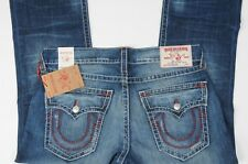 NEW True Religion Jeans Men's Straight Flap Natural BIG T size 36 Red Stitching