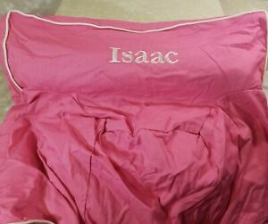 """ANYWHERE CHAIR COVER PB KIDS PINK PERSONALIZED """"ISAAC"""" EMBROIDERED COTTON NEW"""