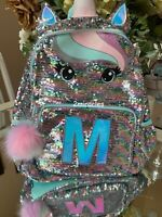 Justice Pastel Unicorn Initial M Flip Sequin Large School Travel Backpack NEW
