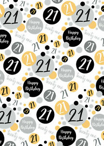 2 Sheets 21st Birthday Wrapping Paper Age 21 Wrap Gold Black  Male / Female (PA)