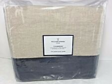 Williams Sonoma Flax Washed Linen Navy Border Queen Duvet Cover New w/ Defects