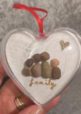 Personalizado Navidad Guijarro Corazón Bolas Decoración del árbol familia Adorno