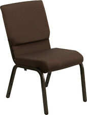 18.5''W Brown Fabric Stacking Church Chair - Gold Vein Frame