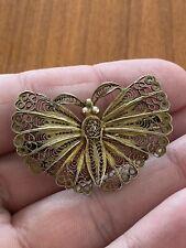 Schmetterling Brosche Silber Vergoldet 800 4x2,7cm