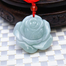 Hand carved natural green jadeite jade rose good luck pendant necklace gift