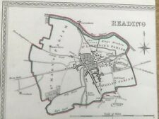 Antique Map Reading Showing Boundary Of Borough By S Lewis C 1835 Walker