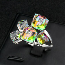 New Blue Square Crystal Statement Rings Fashion Jewelry White Gold Plated Jz489