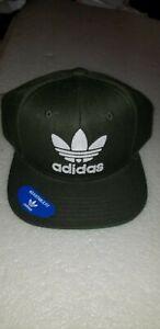 NWT Adidas Trefoil Logo Flat Bill Snapback Olive Green Baseball Hat Cap OSFM