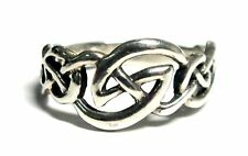 KIT HEATH 925 STERLING SILVER Celtic Knot Band Ring, N, 2.78g - C81