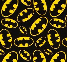 Batman Emblems Tossed Black Background FLANNEL Cotton Quilting Fabric 1/2 YARD