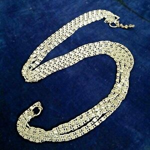 AUTHENTIC SIGNED Vintage 'Sarah COV' Multi-Tier Silver-Tone Metal Link Necklace