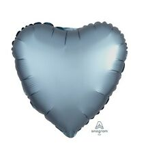 Party Supplies Birthday Engagement Satin Luxe 45cm Foil Balloon Steel Blue Heart