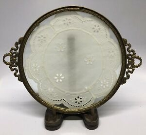 Antique Brass Footed Dresser Vanity Tray Beautiful Lace Under Glass