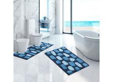 Tappeto per il Bagno In Cotone Retro Antiscivolo Modello Stone Azzurro