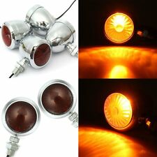 4x Amber Universal Chrome Motorcycle Bullet Turn Signal Indicator Blinker Lights