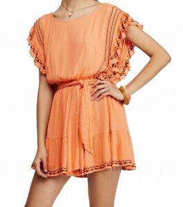 Free People Women's Orange Size Medium M Weekend Brunch A-Line Dress $148- #413
