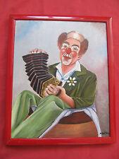 """Belle huile sur toile """"le clown joueur d'accordéon """""""