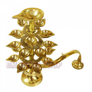 Step Aarti Diya in Brass Quality Deepam Puja Decor Religious Lamp OM POOJA SHOP
