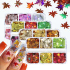 Autumn Maple Leaf Nail Art Glitter Sequins Flakes Nails Stickers Decoration Tips