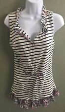 NWT Comme Toi floral tank blue and white stripe small boutique