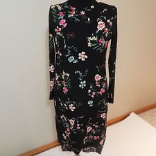 Ladies Long kurti tunic shirt or dress size S 38 black floral free shipping