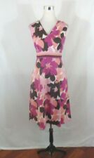 Croft & Barrow Womens Dress 16 Pink Floral Sleeveless A-Line Stretch Casual