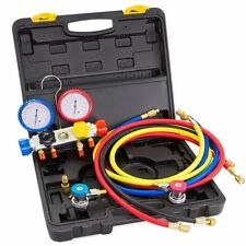4 Way Manifold vacuum Gauge Hose Set R410 R22 R134a refrigeration AC HVAC KIT
