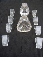 Service liqueur carafe à cognac cristal taillé à facettes verres gobelets