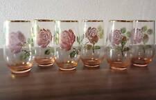 6 Hand Painted Rose Drinking Glasses Gold Rim - Vintage Retro Art