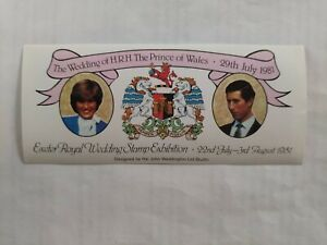 1981 Royal Wedding Charles & Diana Exeter Stamp Exhibition Sticker Ordinary Gum