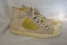 E1575 Red Ball Basketeer Mens Size 12 Canvas w/Yellow Mesh High Tops Made In USA