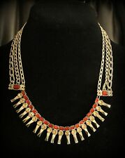 Jessica Simpson Signed Dark Red & Topaz Crystal Stone Gold Chain Toggle Necklace