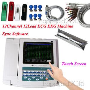 12 Channel 12 Lead ECG EKG Machine ECG1200G Touch electrocardiograph Printer