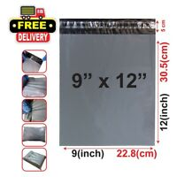"""A4 Grey Mailing Postal Bags Strong 9 x 12"""" Poly Postage Parcel Plastic Seal Seal"""