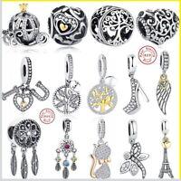 new pandora bracelets Charms real 925 Sterling Silver Love Heart Flower Summer