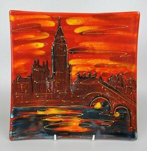 "Superb large square Anita Harris Studio pottery London Big Ben Dish. 10"" RRP £99"