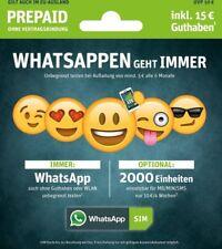 WhatsApp Sim e-plus/o2 Prepaidkarte UVP 10 €,Guthaben im Wert von 15 €